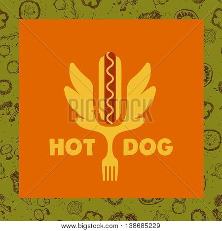 Hot Dog Logo. Vector Logotype For Fast Food.  Quick And Tasty. I