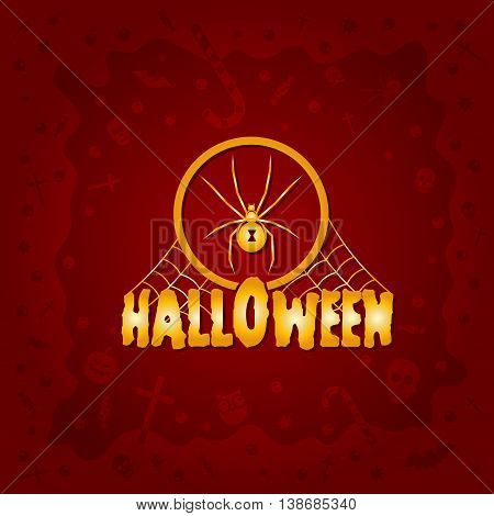 Beautiful Halloween background with golden spider design and skulls, crosses, ghosts, zombies, coffins, bats and candies