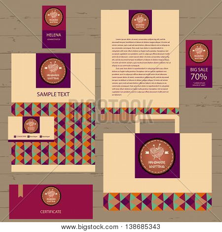 Corporate Identity For Business Needlework. Ball Of Yarn In The