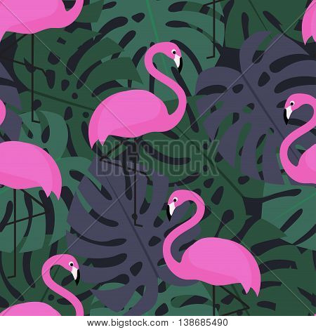 Tropical seamless pattern with pink flamingos on dark monstera leaves background. Exotic Hawaii art background. Fashion design for fabric and decor.
