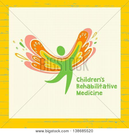 Children Rehabilitation Medicine. Congratulation Postcard And Vector Logo Depicting The Silhouette O