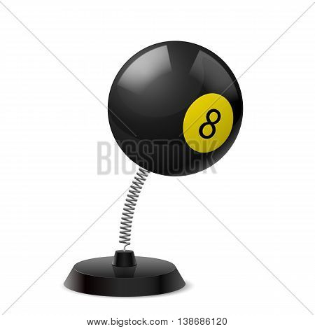 Table souvenir in form of eight black billiard ball on spring