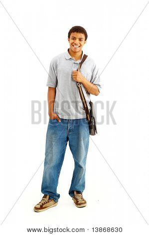 Happy Casual Dressed Young Black College Student Isolated on White Background