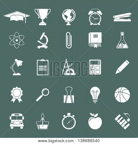 Education icons white on black background. Elements and objects education training of teaching. University and school. Science icon. Vector illustration.