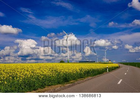 Landscape with Renewable Energy Windmill Turbines in Luxembourg.