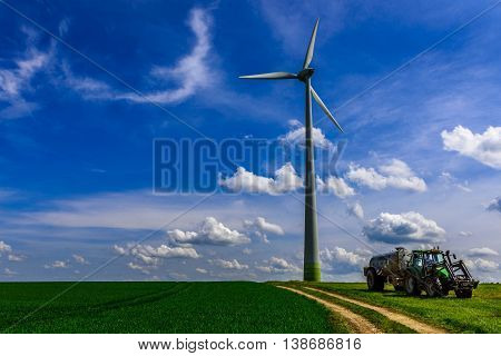 Landscape with a Renewable Energy Windmill Turbine in Luxembourg.