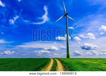 Landscape with Renewable Energy Windmill Turbine in Luxembourg.