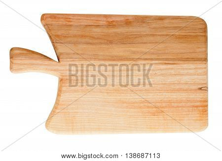 Cutting board made of European Common Ash (Fraxinus Excelsior) wood isolated on white background