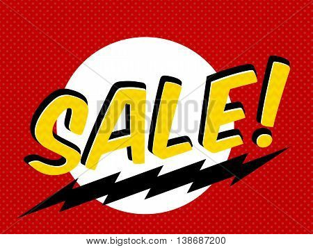 Sale tag, shopping sticker, label in comic book style. Isolated design element for stores, shop, other business