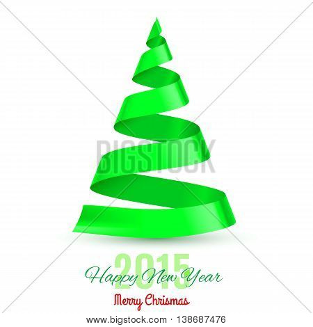 Green ribbon Christmas tree on white background. Greeting card 2015