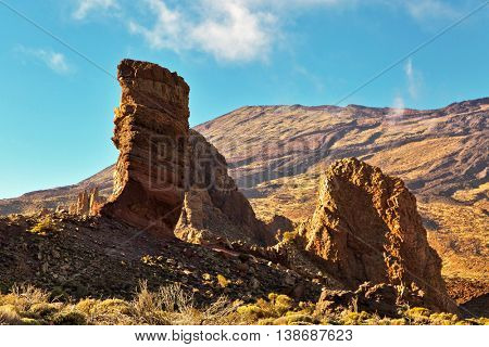 Famous Finger Of God rock in Teide national park. Tenerife island - Canary, Spain