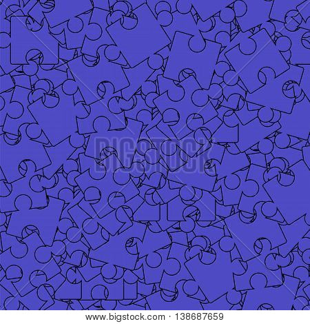 Blue Puzzle Background. Jigsaw Pattern. Top View