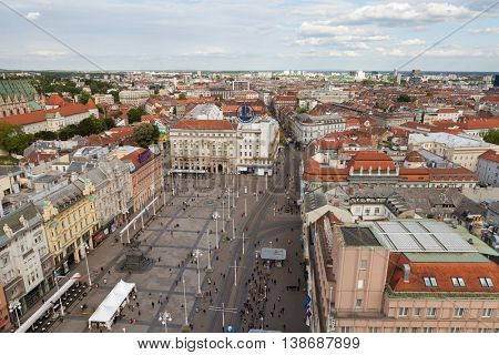 ZAGREB, CROATIA - APRIL 26th, 2016: View from above of Ban Jelacic Square in Zagreb, Croatia