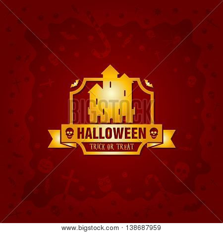 Beautiful Halloween background with golden gothic vampire castle design and skulls, crosses, ghosts, zombies, coffins, bats and candies