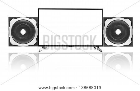 Modern blank flat screen TV set and Audio speaker Subwoofer.