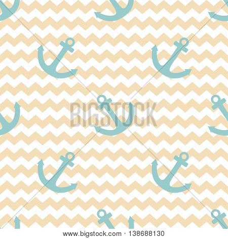 Tile sailor vector pattern with blue anchor on pastel zig zag background
