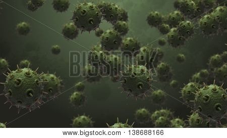 3d rendering molecule or germ concept with embossed and displaced surface