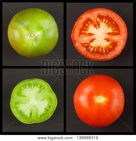 Ripe and unripe tomato collage. Green and red tomatoes. Growing vegetables. Advertising for vegetables.