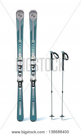ski and sticks - winter equipment - vector illustration