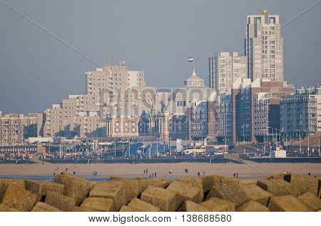 View on the Boulevard of Scheveningen the Netherlands. The famous hotel Kuhrhaus is situated in the center of the photo