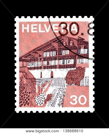 SWITZERLAND - CIRCA 1973 : Cancelled postage stamp printed by Switzerland, that shows Erlenbach.