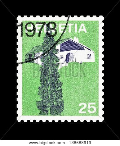SWITZERLAND - CIRCA 1973 : Cancelled postage stamp printed by Switzerland, that shows Saignelegier.