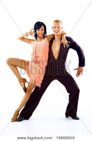 junges Paar Tanzen Latino weiß