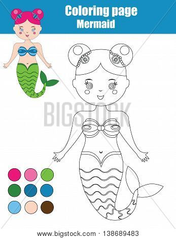 Coloring page with mermaid. Children educational drawing game, kids activity sheet