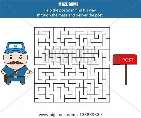 Maze game. Help the postman deliver the letter. Kids activity sheet, printable educational children game