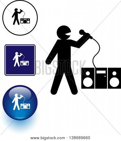karaoke singing symbol sign and button