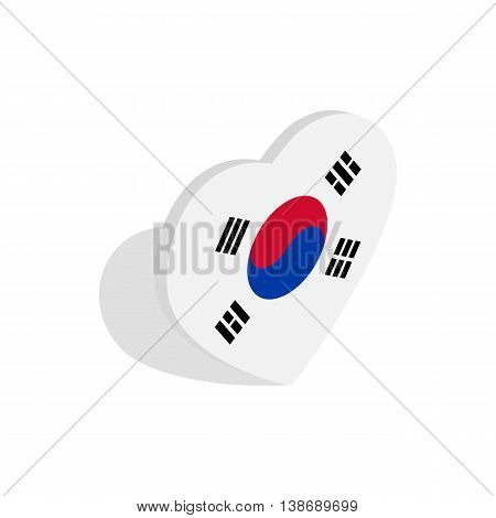 Heart with South Korean flag icon in isometric 3d style isolated on white background