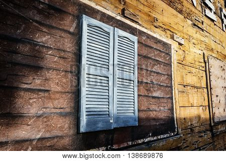Closed old window in rustic style horizontal composition USA