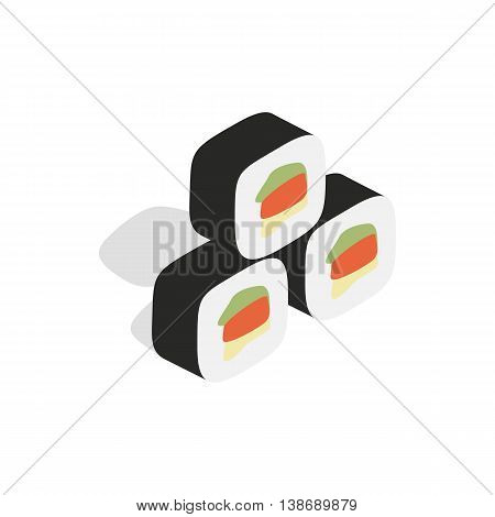 Korean traditional food kimbap icon in isometric 3d style isolated on white background