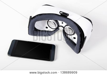 Modern virtual reality glasses. Easy way to watch movies in 3D