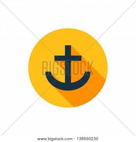 Vector illustration of anchor icon in yellow circle with long shadow
