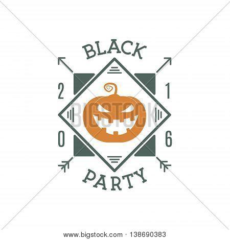 Happy Halloween 2016 black party invitation label. Typography insignia for celebration holiday. Retro badge, logo.