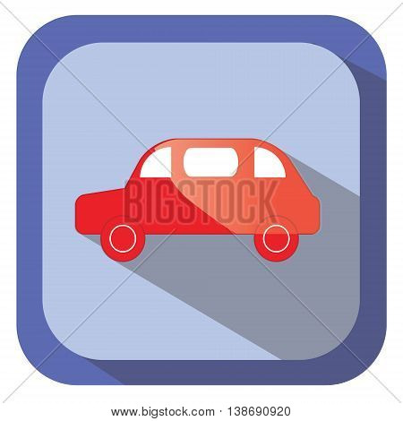 Red glance car vector icon in flat design with long shadow. Design element for mobile applications logo and other business