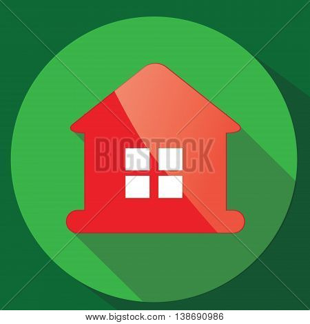 Red glance house vector icon in flat design with long shadow. Investing banking financial credit real estate concept illustration