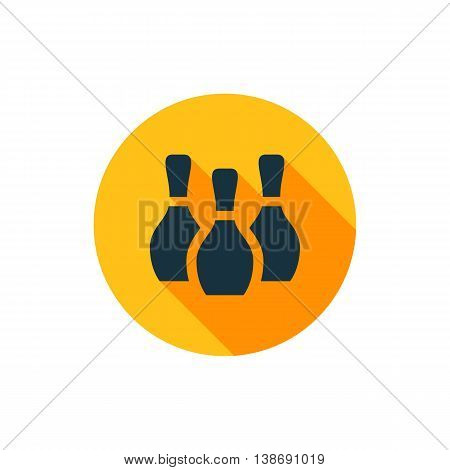 Vector illustration of bowling pins icon in yellow circle with long shadow