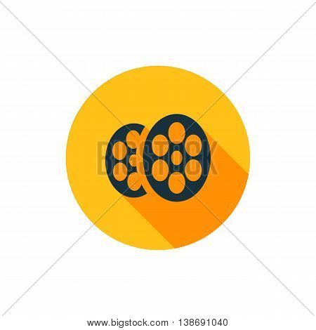 Vector illustration of cinema icon in yellow circle with long shadow