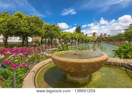 Close up of fountain in the popular gardens of Alcazar de los Reyes Cristianos, Andalusian city of Cordoba, Spain.