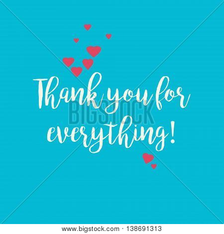 Blue Thank you for everything card with pink hearts.