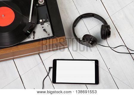 Vintage Turntable, Phablet And Headphones