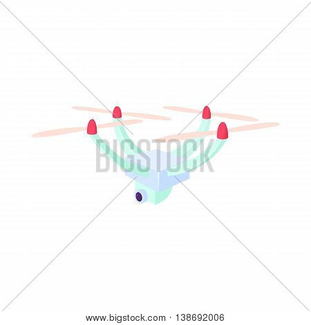 Drone with camera icon in cartoon style isolated on white background. Fly symbol