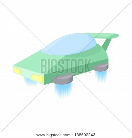 Flying machine future icon in cartoon style isolated on white background. Innovation symbol