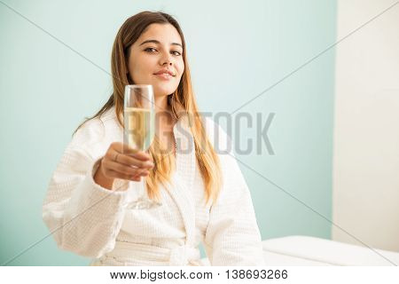 Woman Enjoying Vacations In A Spa