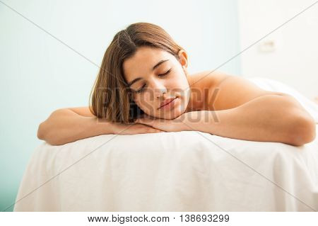 Cute Woman Taking A Nap After Her Massage