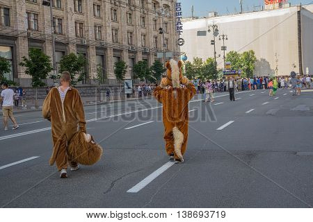 Kiev Ukraine - June 19 2016: Men dressed as animators are on Khreshchatyk Street