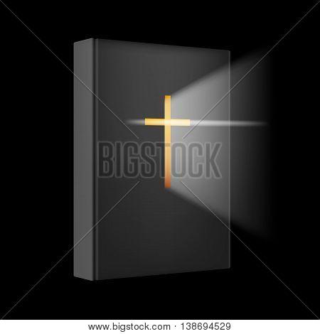 Realistic Bible book. Illustration on black background for design.