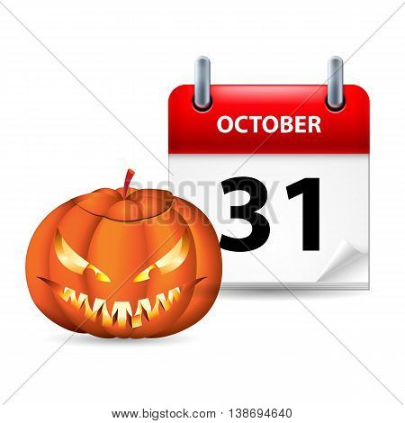 Halloween concept with spooky pumpkin and calendar on 31th of October over white